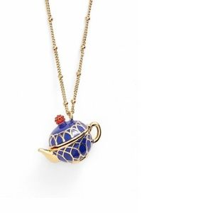 New Gold Kate Spade Blue Teapot Locket Necklace